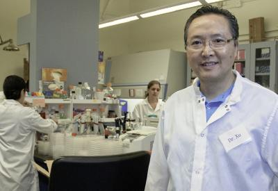 Pictured: CSULA Professor Howard Xu in his research lab at La Kretz Hall.
