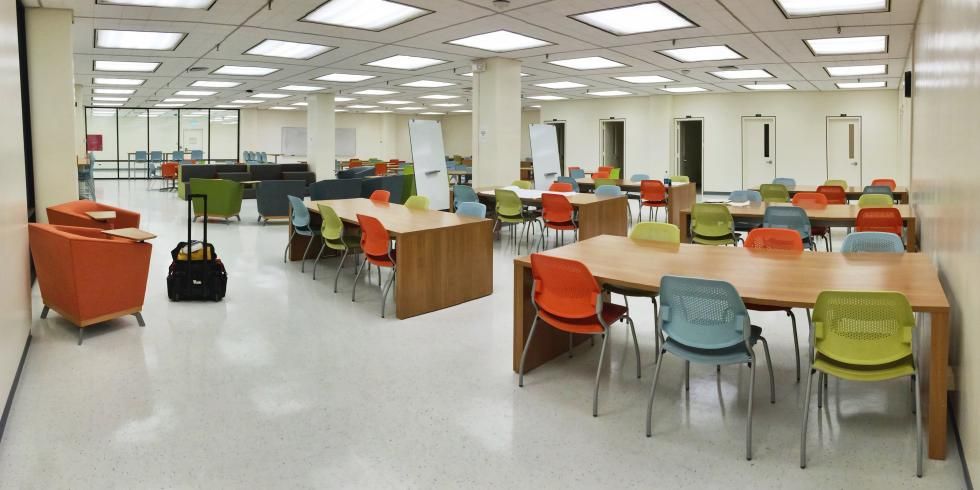 View of tables and chairs in the GRC Commons