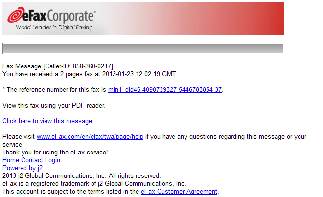 Phishing email message pretends to be from eFax