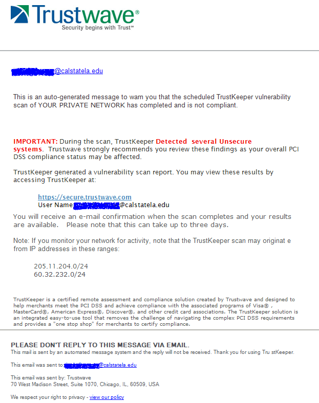Phishing email message pretends to be from Trustwave