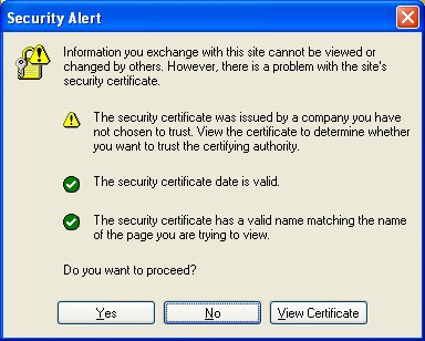 Security Alert about the security certificate on a Web site