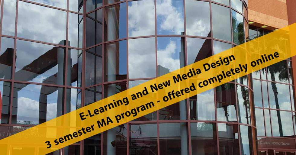 E-Learning and New Media Design banner on the Luckman Theatre