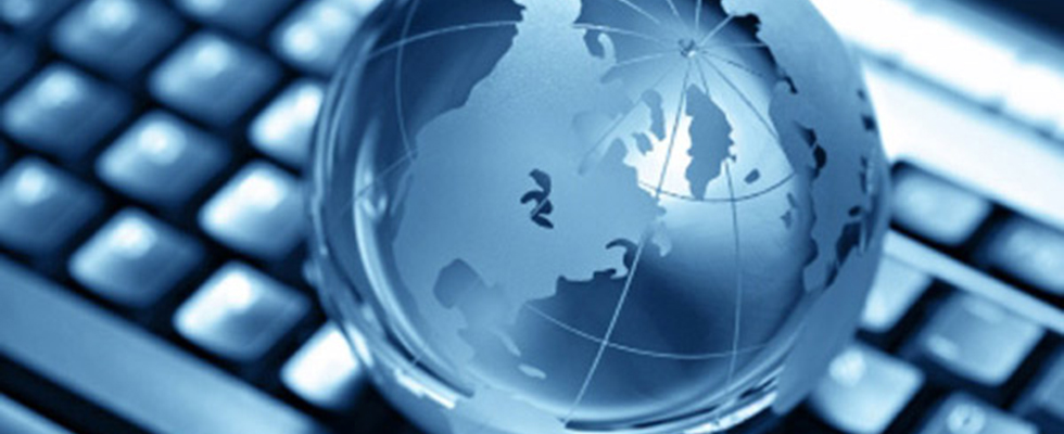 Keyboard and world globe
