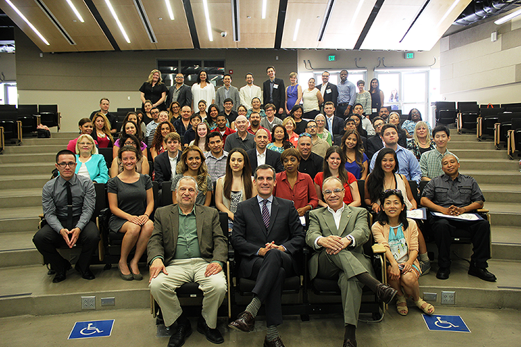 The first graduating class of Civic University, a joint program between the City of Los Angeles and Cal State L.A. to promote civic education in the community.