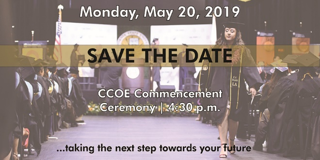 CCOE commencement Ceremony save the date flyer