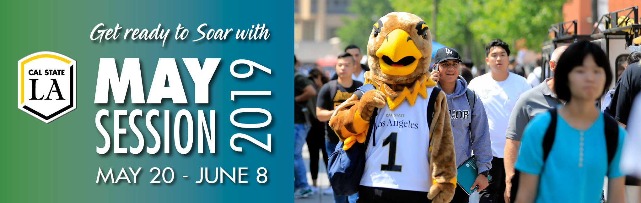 May Session 2019 with Eddie the Eagle walking through campus; links to May Session webpage