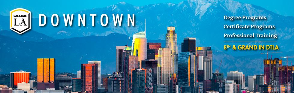 Cal State LA Downtown logo with cityscape background