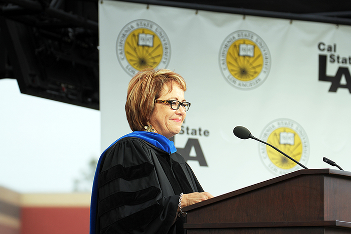 Regional labor leader Maria Elena Durazo receives a CSU Honorary Doctorate.