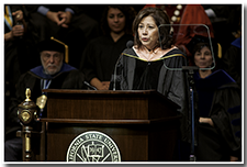 Former US Secretary of Labor Hild Solis gives the keynote speech.