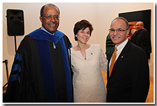 Former Cal State L.A. President James M. Rosser, left, Dr. Debbie Covino, center, and President William A. Covino