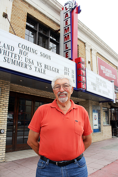 Laemmle, pictured at Laemmle's Royal Theater in West Los Angeles, estimates he's watched up to 150 films each year for 60 years.